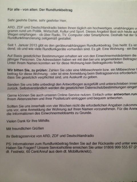 ドイツのオフィシャルな手紙