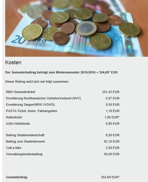Goethe Universityの費用の一例